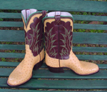 Full Quill Ostrich with ostrich collar, Yellow and Green stitch, wide round toe and cowboy heel