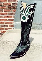 Black Boot w/19-inch Tops, Shamrock Design & Collar