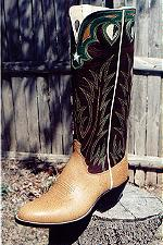 SaddleTan Bullhide Boot, 17-inch Tops w/Collar & Inlayed Star, TearDrop Pull-Holes