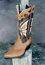 Tan Foot w/14-inch Black Tops w/Butterfly Inlay Boot