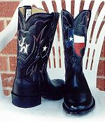 Black Kangaroo Boot w/Texas Map & Monogram
