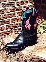 Black Calf Boot with Pink Butterfly Inlay and Turquoise Collar