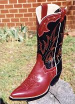 Red Kangaroo Boot w/ Red Collar, Black Top & Counter