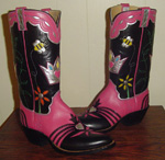 Queen Bee Boots.  Pink Kangaroo with Black kangaroo tops and foxing.  Silver crown and Queen Bee inlayed on tops