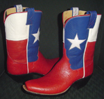 Kidskin Texas Flag tops with Bullhide bottoms, 10 in. tops with 1 3/4 in. cowboy heels, and wide box toes.