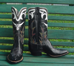Black Kangaroo with inlaid steerhead and collar made from white Kangaroo.  Small box toe and cowboy heel.