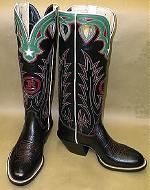 Black Bullhide Buckaroo Boot W/ Black Top, Red Brand, Red Stitching, Green Collar w/White Star & Red Inlays, Teardrop Pull-Holes