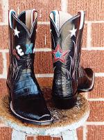 Black Alligator Tail Boot w/10in. Texas & Stars Inlayed Tops & Red White & Blue Pull Straps