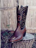 Tobacco Full-Quill Ostrich Boot w/Brand on Tops
